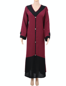 Meraaz Modern Women's Islamic  Abaya / Burqa Dress, Maroon Colour Simple Latest Design Stylish Ladies Pardha Dress - Model MA-114-MRN