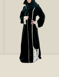 Women's Islamic  Abaya / Burqa Dress, Black & Cream Colour Simple Latest Design Stylish Ladies Pardha Dress, Model R1A-104-MC