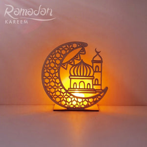 Islamic Wooden LED Candle Moon Pedant, Ramadan Eid Mubarak, Weddings, Islamic Event Party Decoration Accessory, Hanging Wall Home & Wall Decor for Arabic Interior Living Room