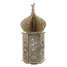 Load image into Gallery viewer, Islamic DIY Palace Wooden Craft Lamp with Engraved Eid Mubarak, Battery Powered Festival Lantern, Ramadan / Party / Wedding Decoration Accessory / Give Away Gift, Home & Office Indoor / Table Decor