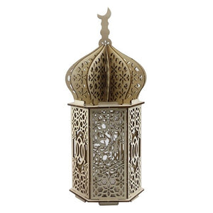 Islamic DIY Palace Wooden Craft Lamp with Engraved Eid Mubarak, Battery Powered Festival Lantern, Ramadan / Party / Wedding Decoration Accessory / Give Away Gift, Home & Office Indoor / Table Decor