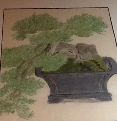 "Japanese miniature Tree - Print  of original painting on a 8""x10"" canvas"