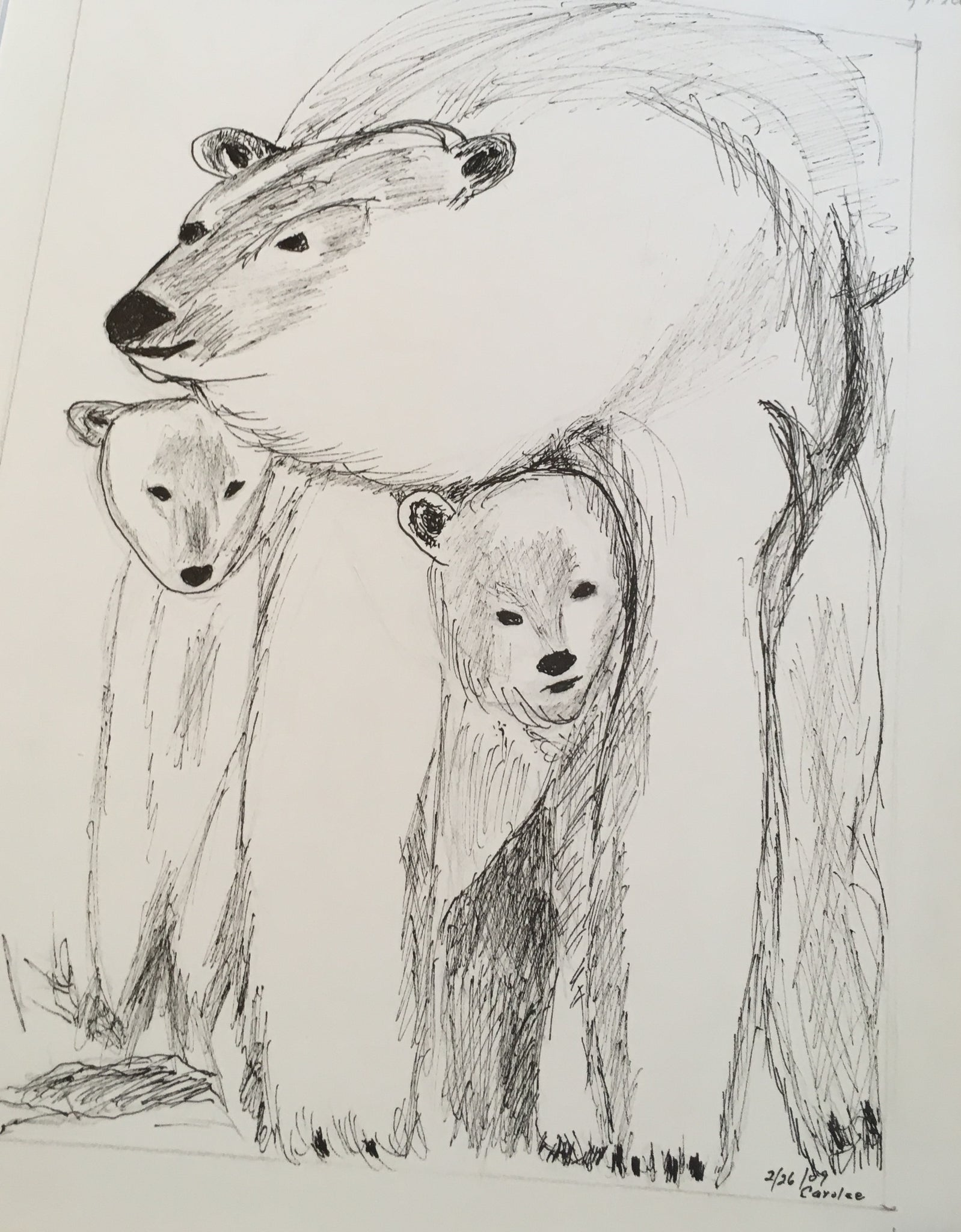 "Polar Bear Love - Print of original drawing on a 8""x10"" canvas"