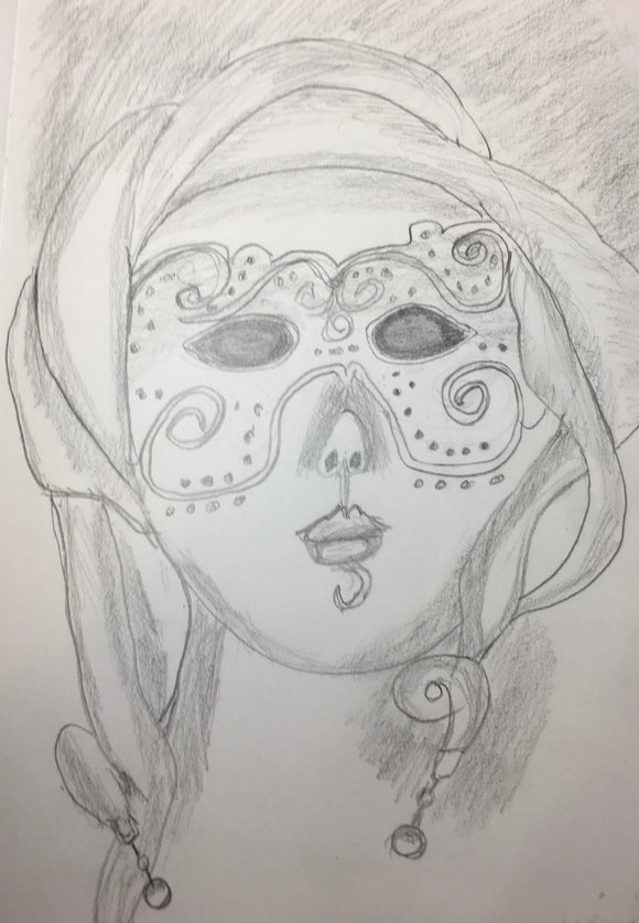 Mardi Gras Mask - Photo enclosed in your greeting card