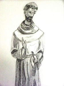 "Saint Francis - Print of original drawing on a 8""x10"" canvas"