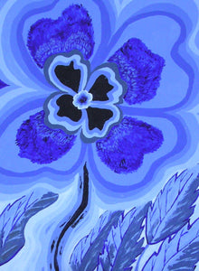 "Viola in Blue Abstract Design  - Print of original painting on a 8""x10"" canvas"