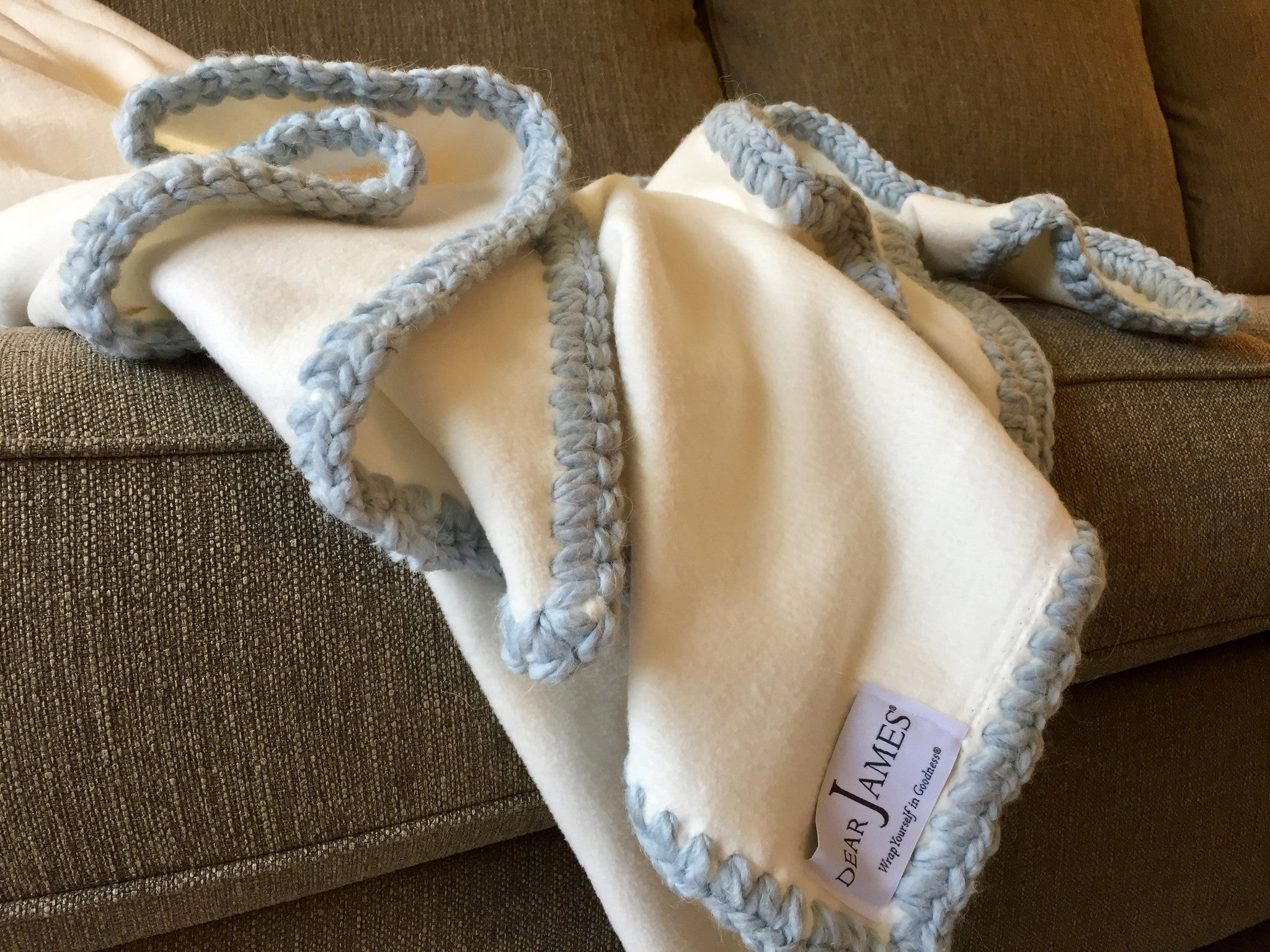 Afghan Luxe Fleece Throw - Powder Blue