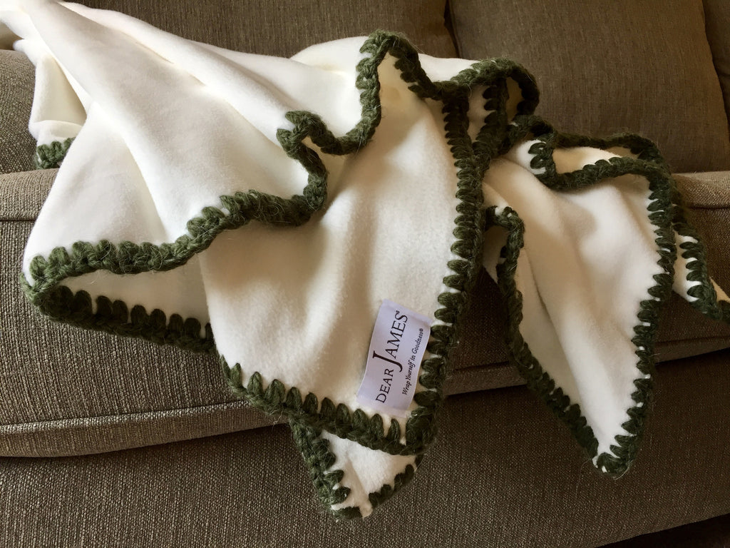 Afghan Luxe Fleece Throw - Hunter Green