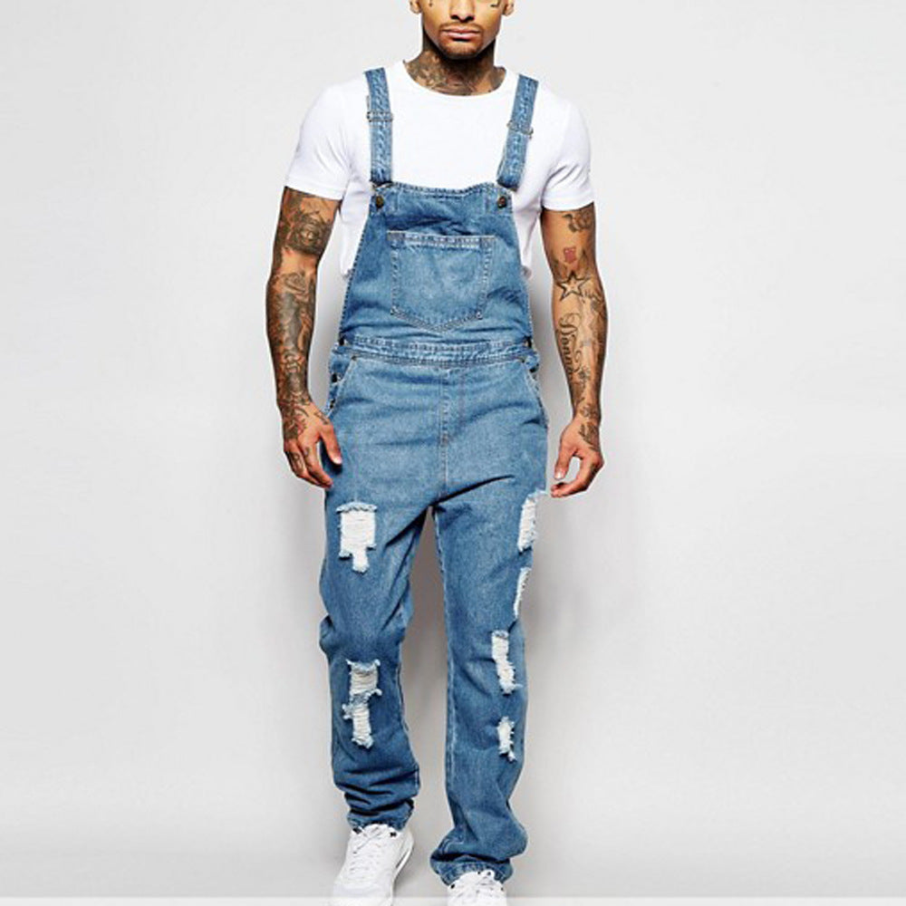 Men Solid Color Ripped Denim Overalls Trousers