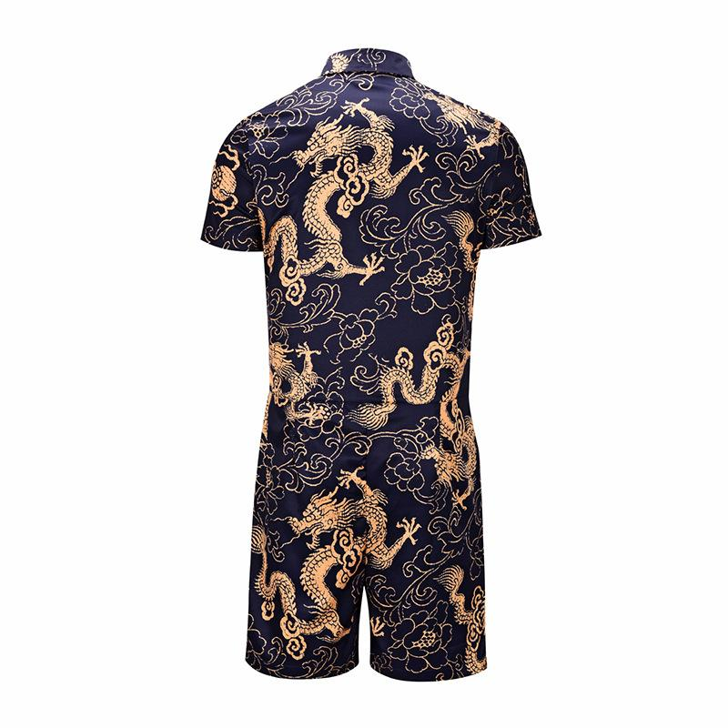 Men Dragon Print Short Sleeve Two-Piece Suits