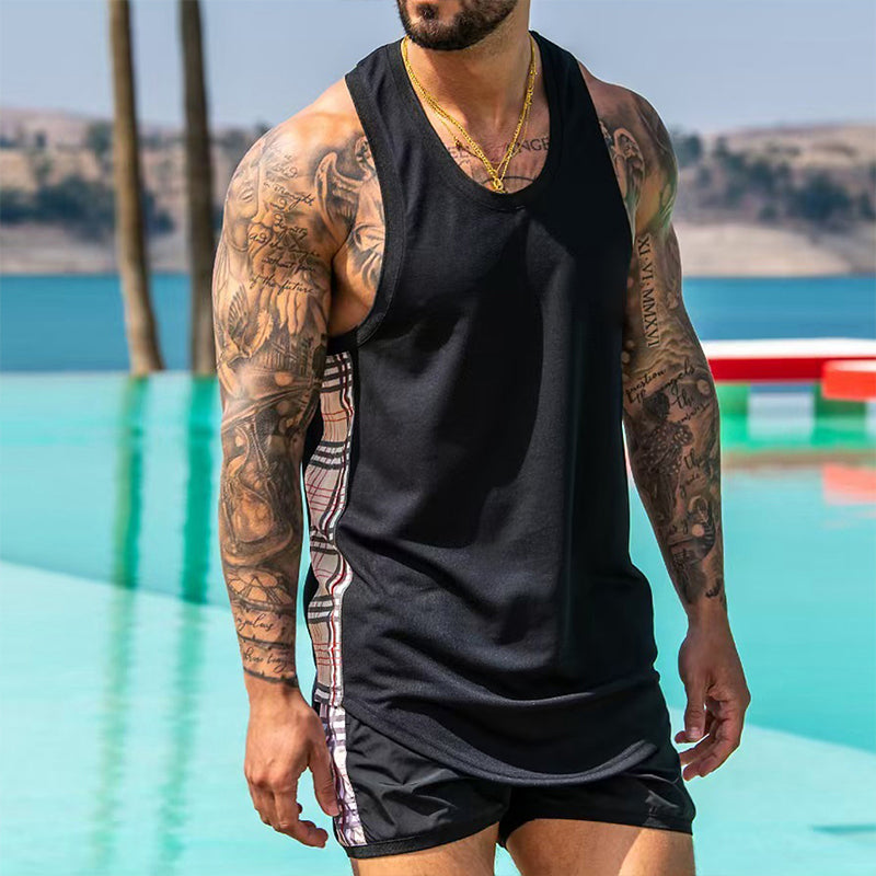 Men Summer Vacation Gym Set Soft Cotton Two-Piece Suits