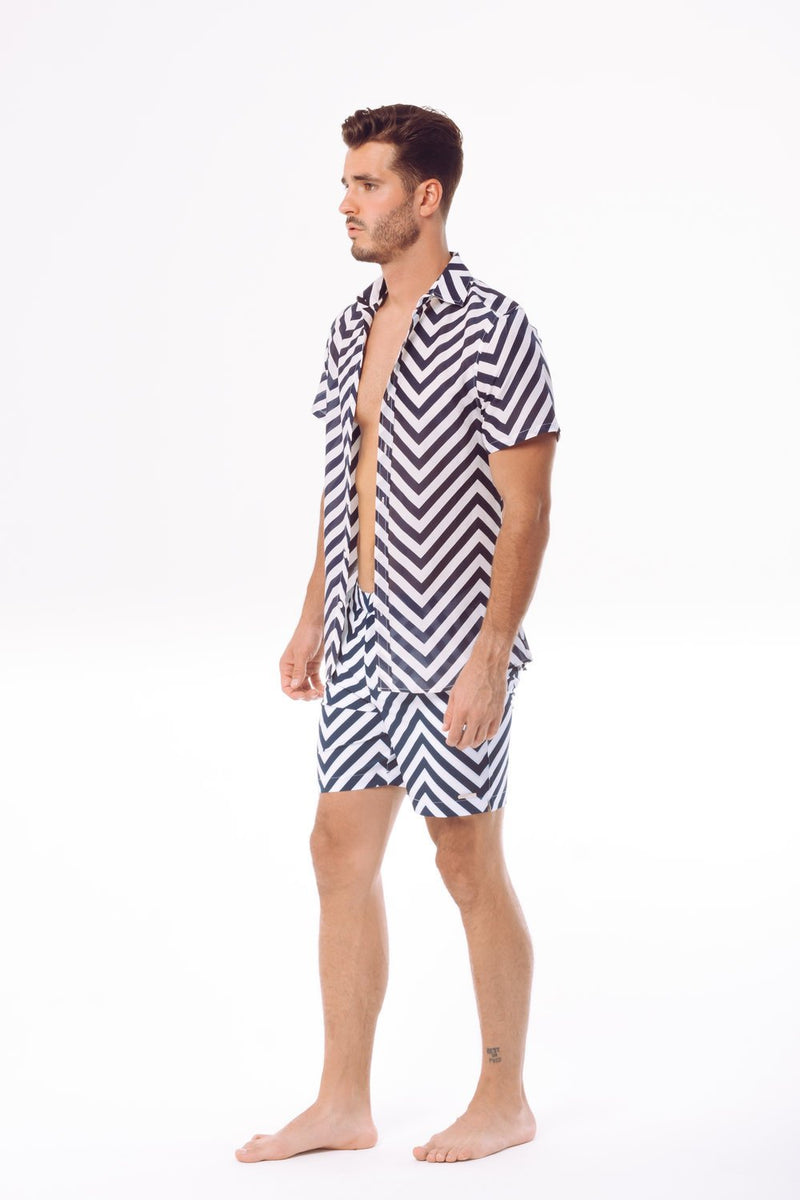 Men Ripple Printed Two-Piece Sets