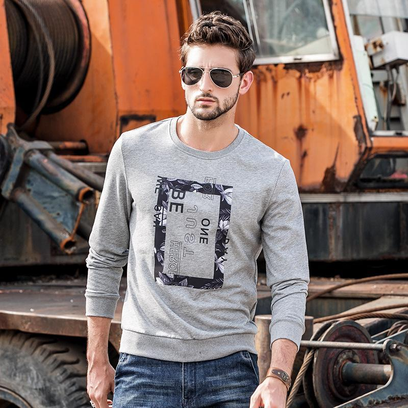 Men Round Neck Printed Blouse Shirt