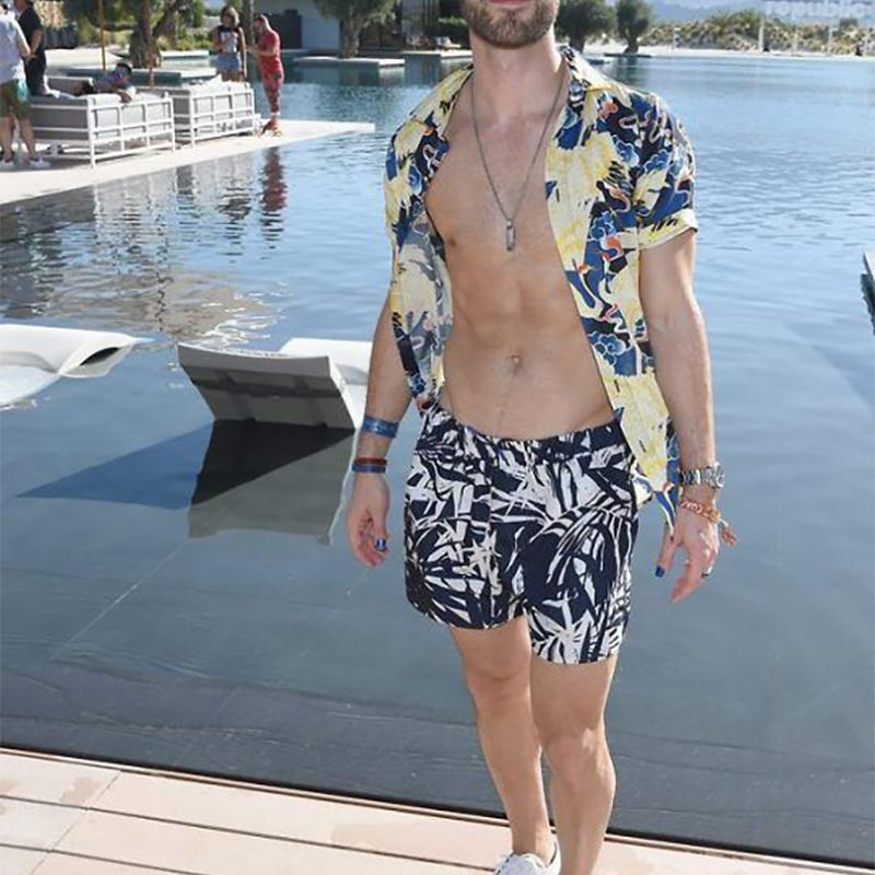 Men Crane Printed Two-Piece Suits