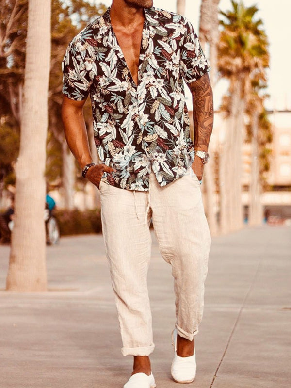 Men Short Sleeves Printed Casual Blouses&Shirts Top