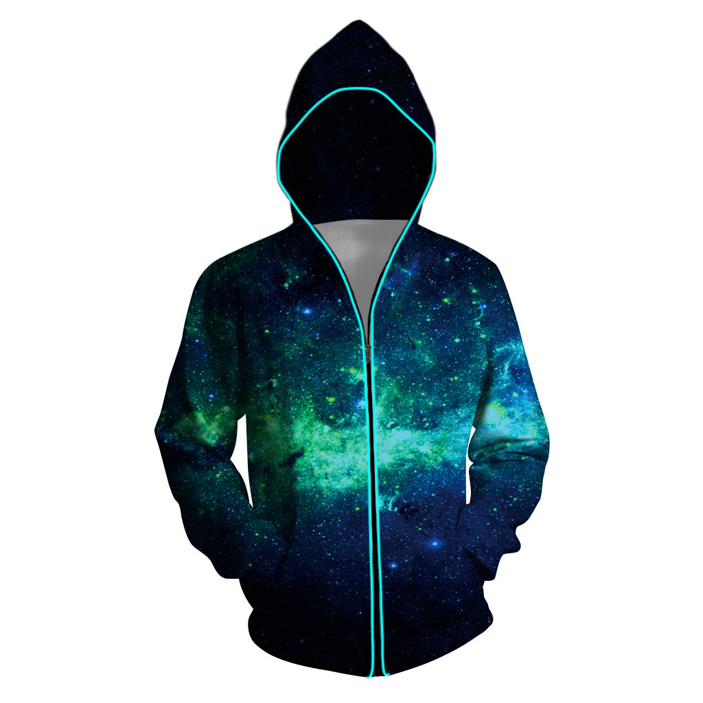 Men Printed Zipper Photoelectric Jacket