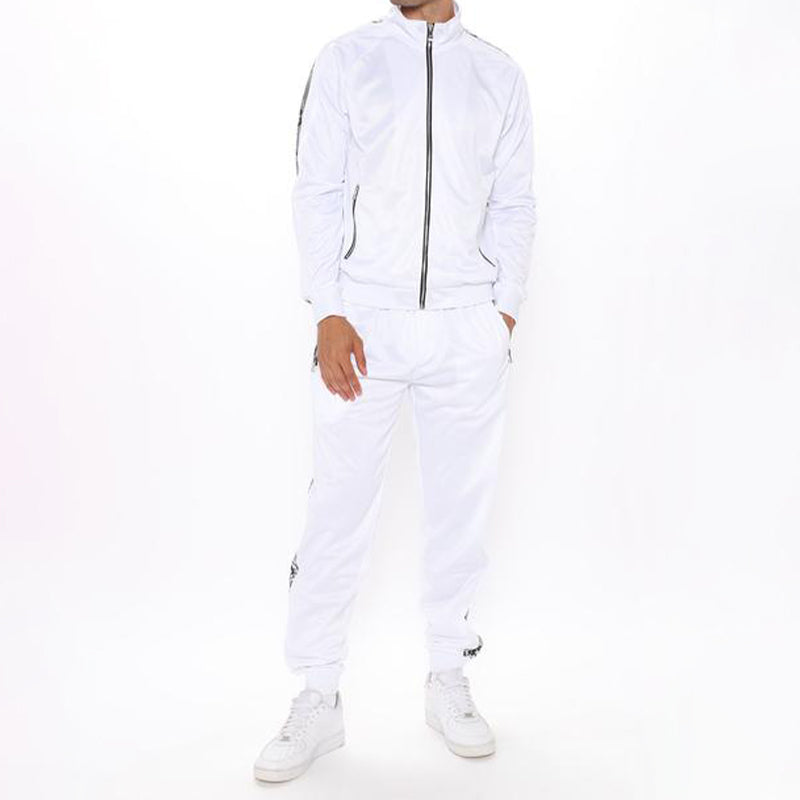 Men Zip Up Two-Piece Tracksuit White