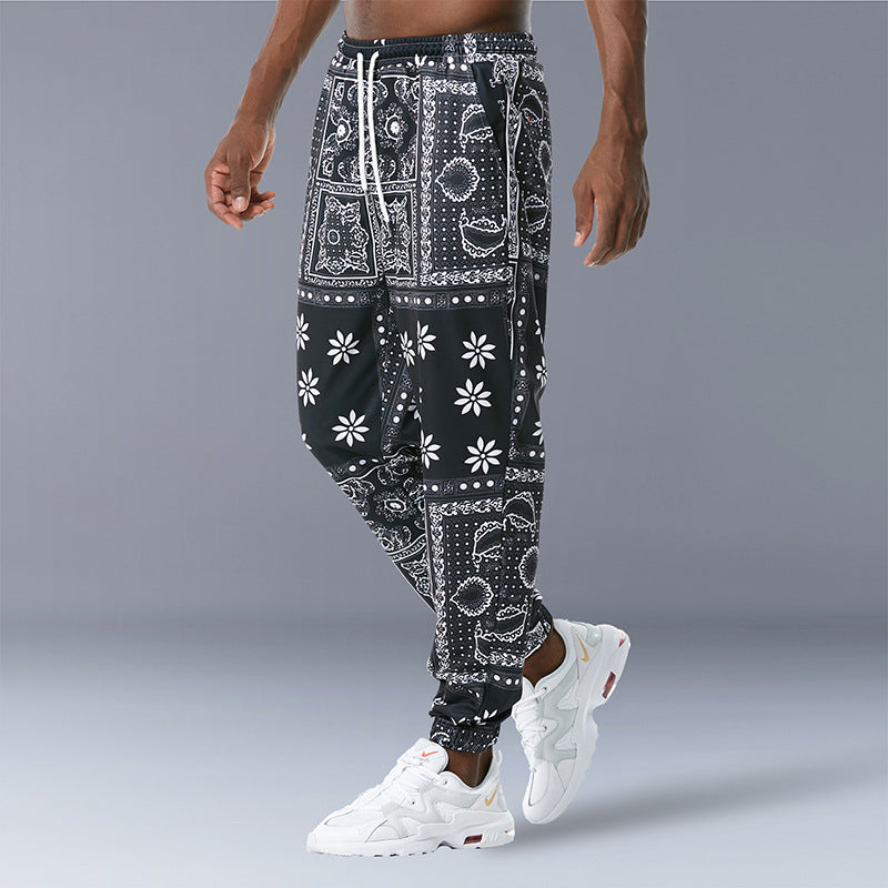 Vintage Print Casual Trousers