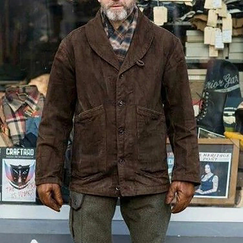 Men Solid Color Lapel Casual Jacket