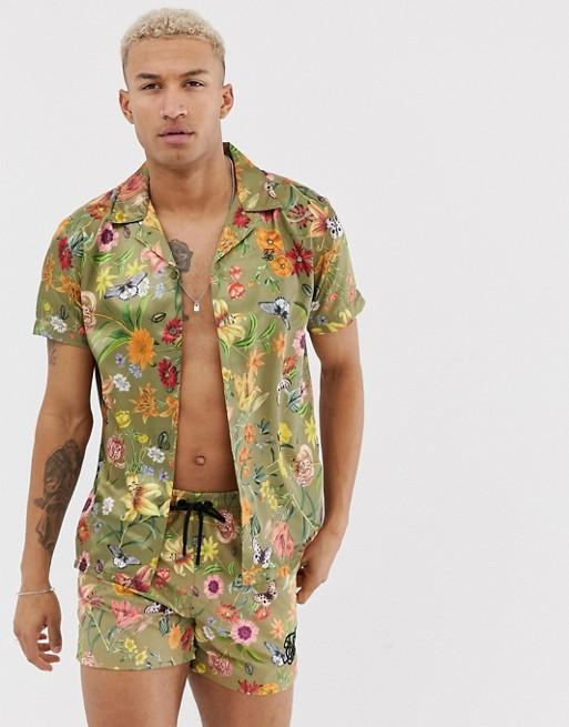 Men Spring Floral Print Casual Suits