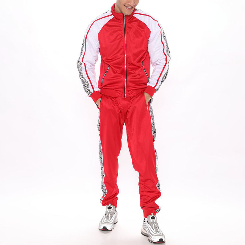Men Colorblock Zip Up Two-Piece Tracksuit