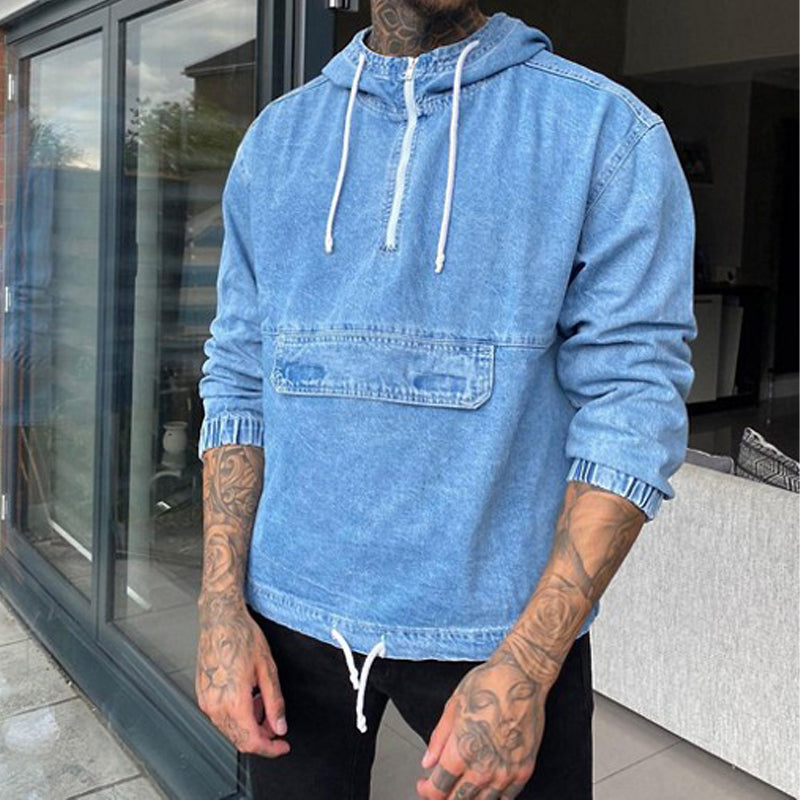 Men Solid Color Hooded Casual Sweatshirt