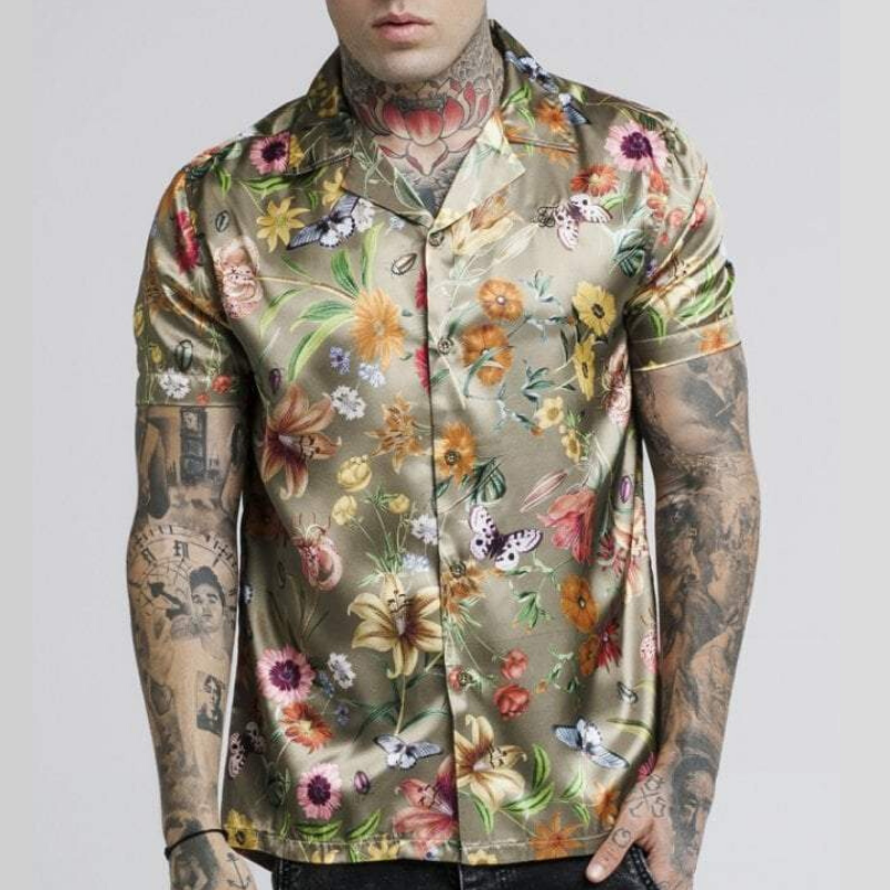 Men Floral Printed Silk Two-Piece Sets