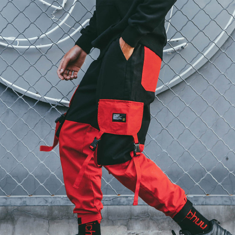 Mens Hip-Hop Streetwear Patchwork Sweatpants Trousers