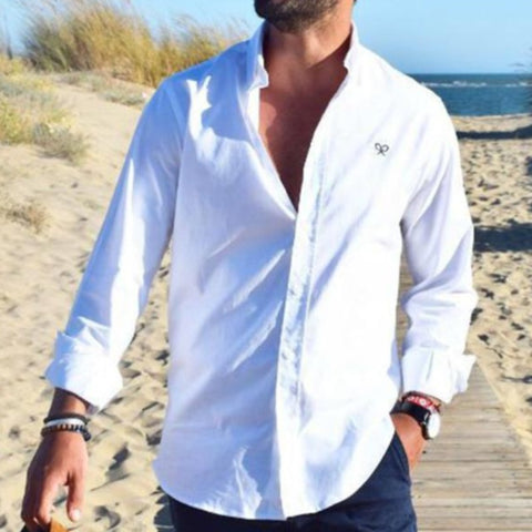 Men Button Neck Long Sleeves Shirt