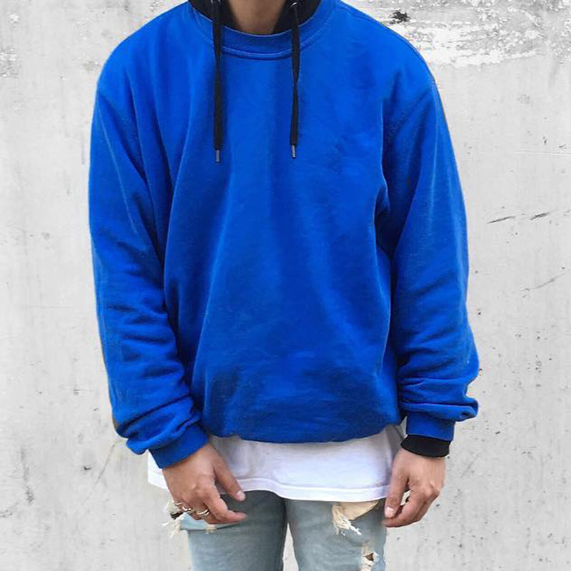 Men's Loose Round Neck Casual Hoodie Blue