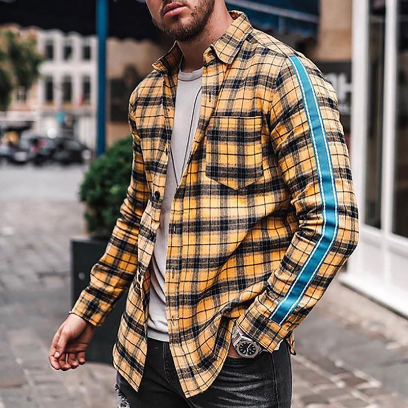 Men Casual Plaid Long Sleeve Shirt
