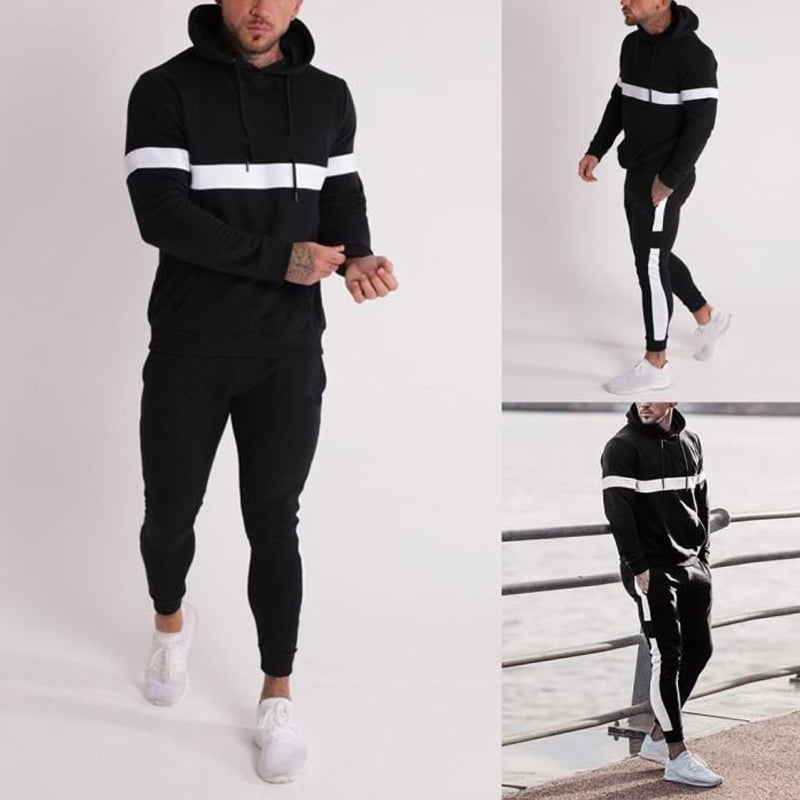 Men Color Matching Casual Sports Sweatshirt Suit