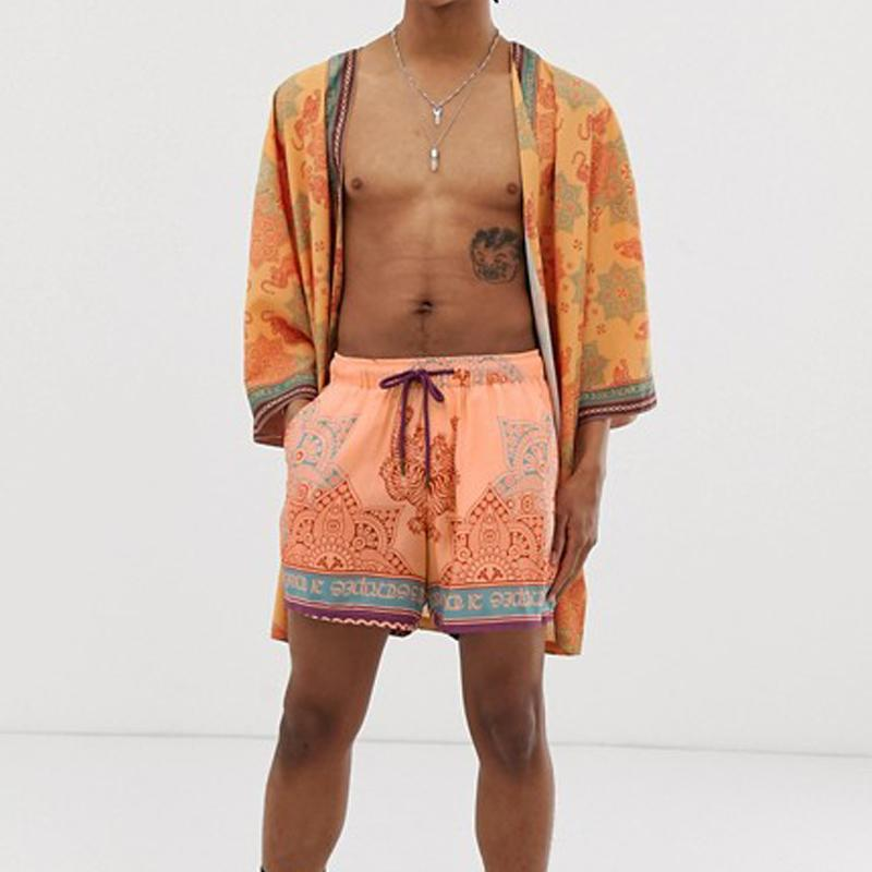 Men Light Orange Printed Loose Two-Piece Sets