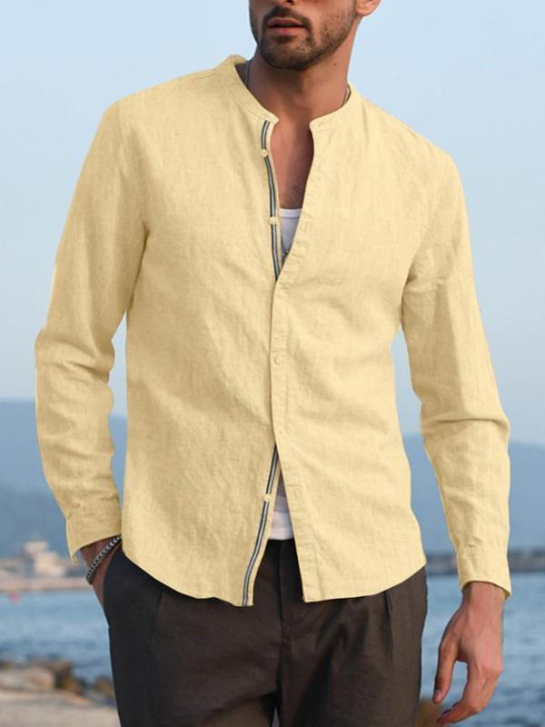 Men Solid Lapel Blouse Shirt