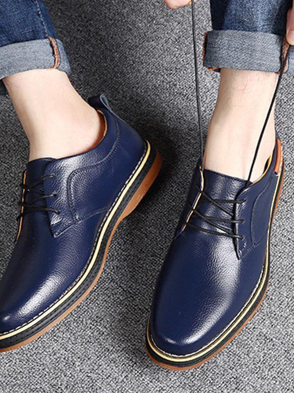 Men Lace-up Casual Leather Shoes