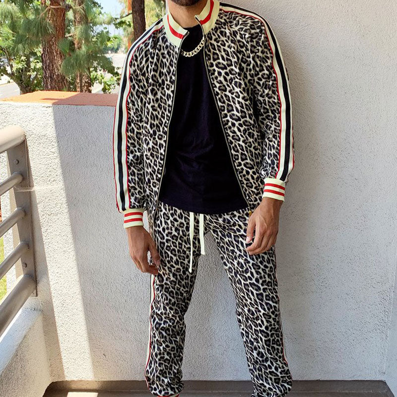 Men Leopard Printed Zip Up Two-Piece Tracksuit