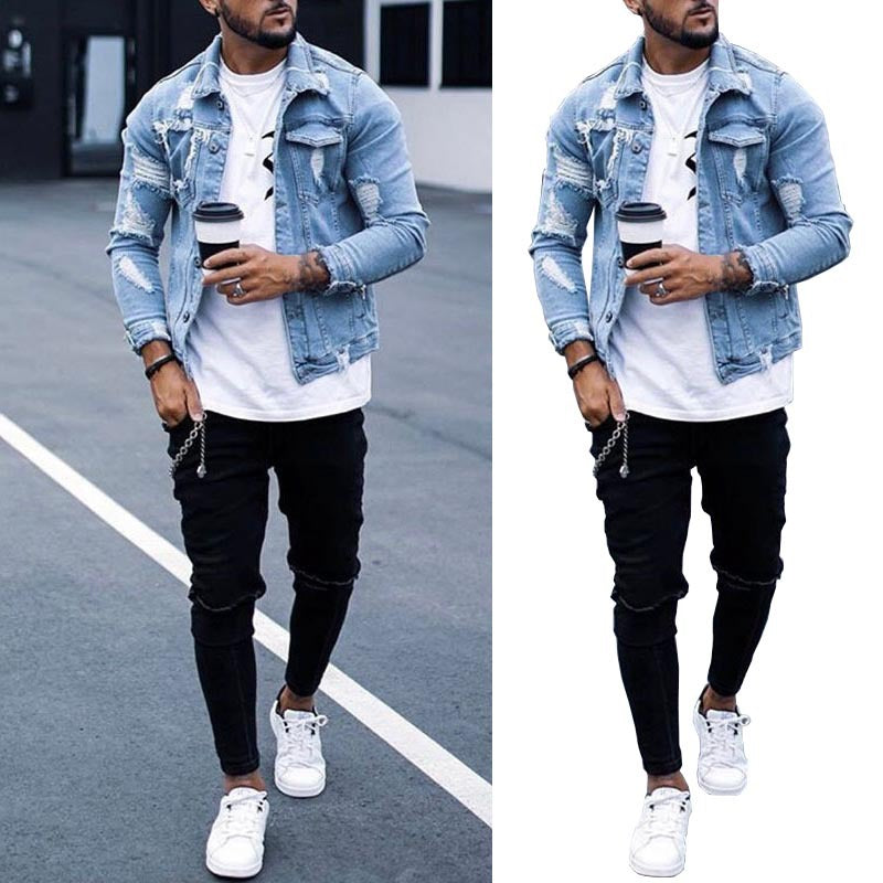 Mens Denim Hollow Stylish Jacket