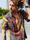 Men Short Sleeves Printed Lapel Casual Blouses&shirts Top