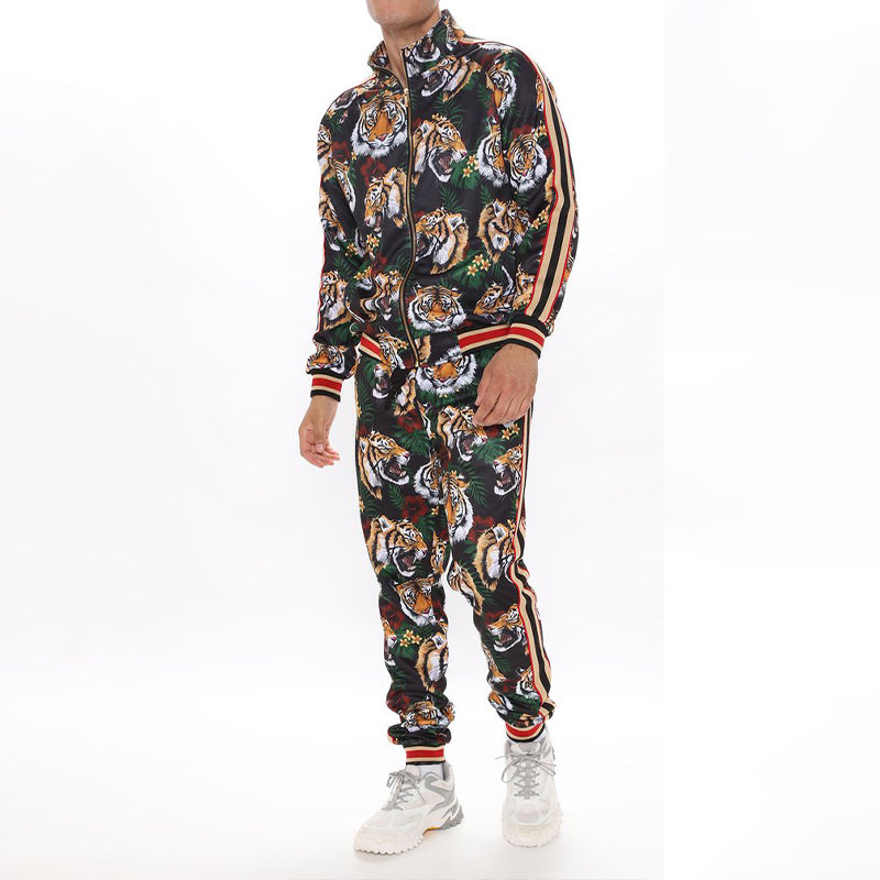 Men Zip Up Two-Piece Tracksuit