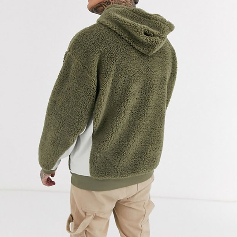 Men Plush Pullover Color Block Hoodied