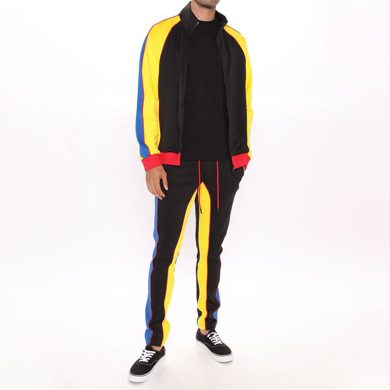 Men Colorblock Zip Up Jacket