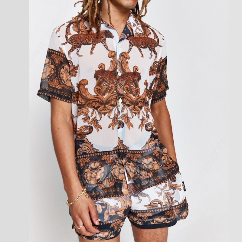 Men Casual Printed Two-Piece Suits