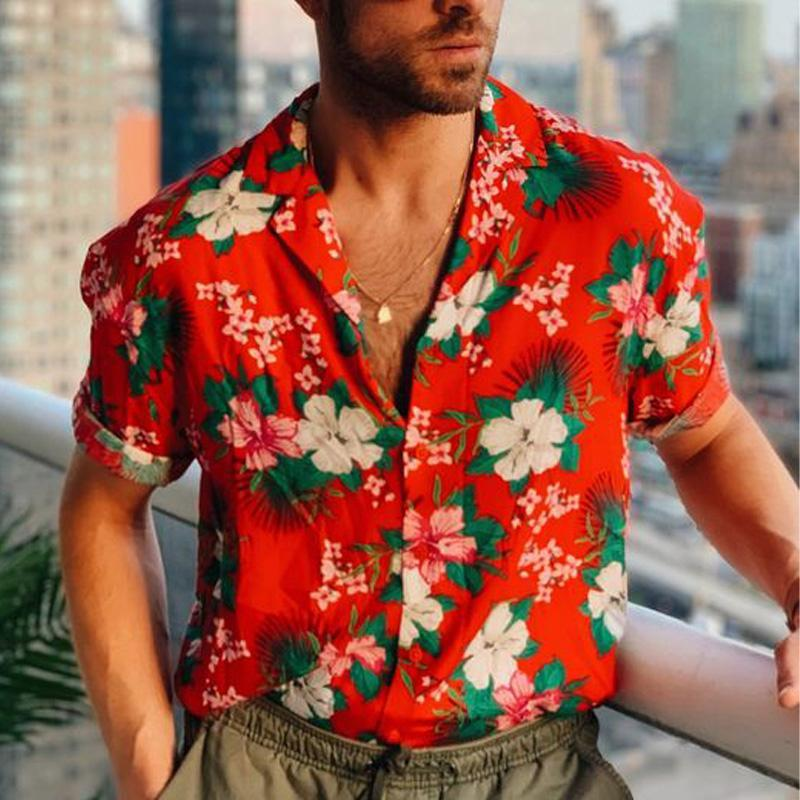 Men Floral Printed Lapel Short Sleeves Shirt