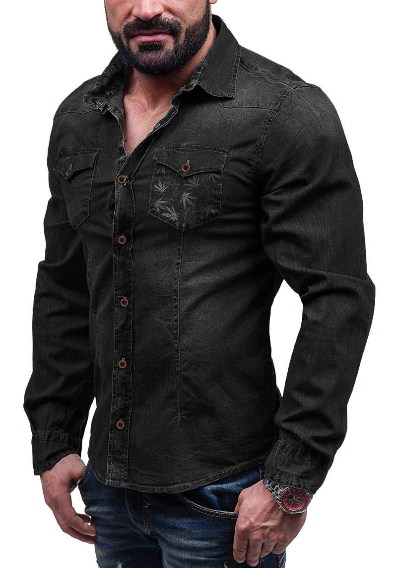 Men Printing Pocket Denim Shirt