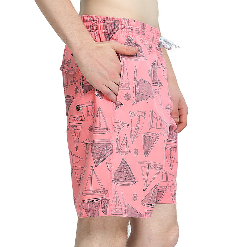 Men Pink Casual Beach Quick Dry Shorts Swimming Trunks