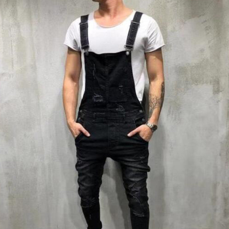 Men Strap Denim Rompers Ripped Jeans Trousers