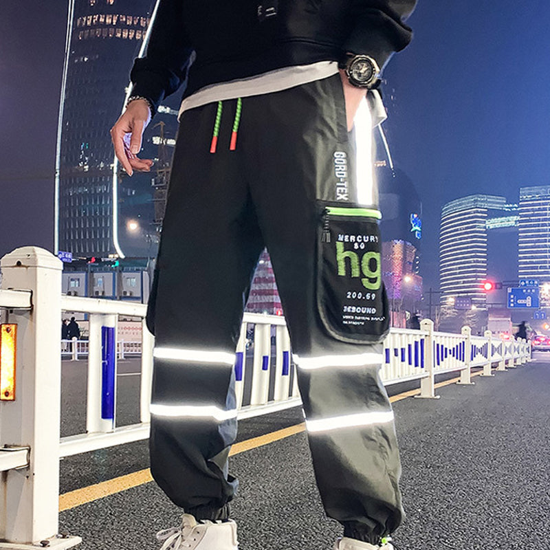 Men Street Style Reflective Jogger Loose Trousers
