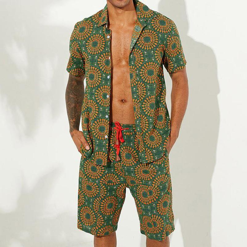 Men Casual Holiday Printed Two-Piece Suits