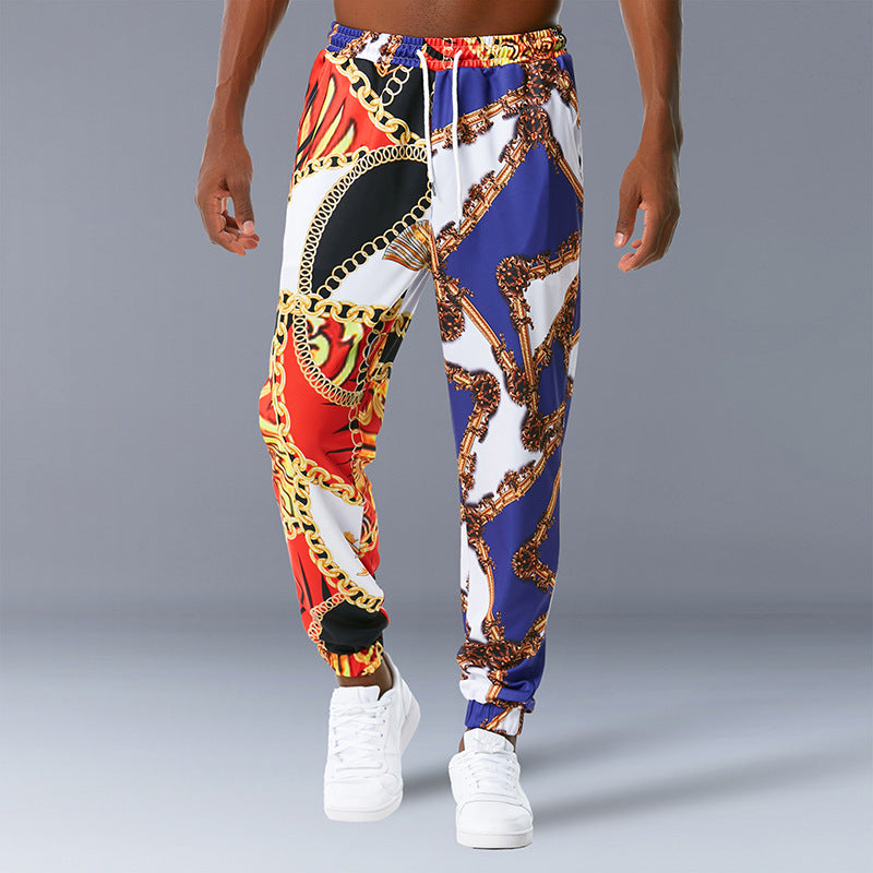 Palace Style Mid-Weight Retro Print Casual Trousers