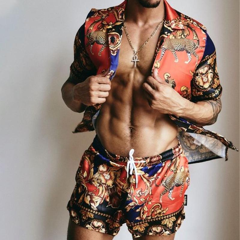 Men Casual Beach Wear Two-Piece Suits